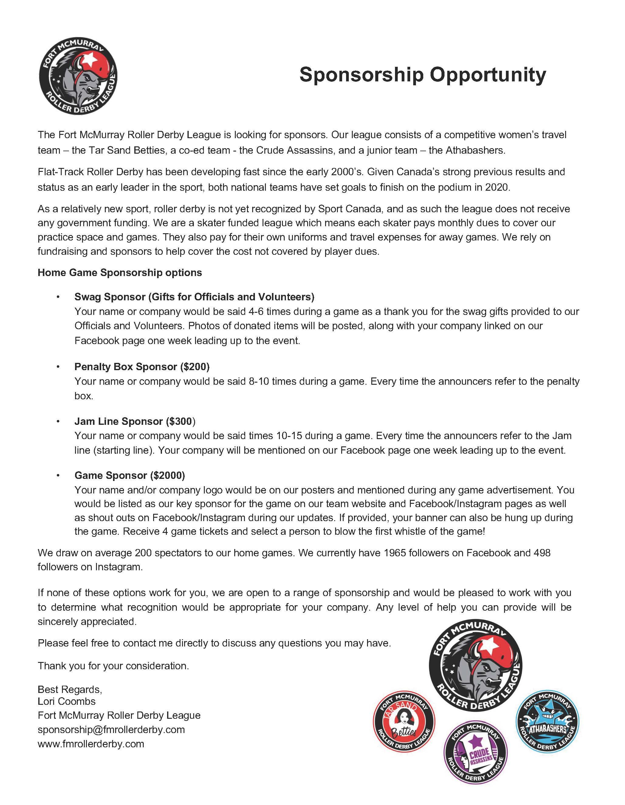 2019 - FMRDL - Sponsorship Letter - Fort McMurray Roller